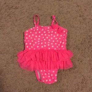 Baby girl pink polka dot bathing suit